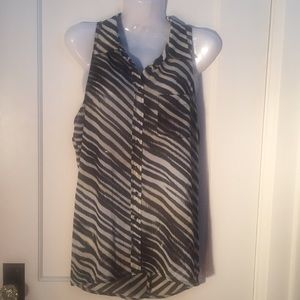 Guess Sheer Striped Open Back Sleeveless Top